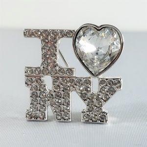"""Swarovski """"I Love NY"""" Brooch Pin Clear Rhinestones"""